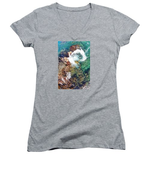 Surfacing Women's V-Neck T-Shirt (Junior Cut) by James Roemmling