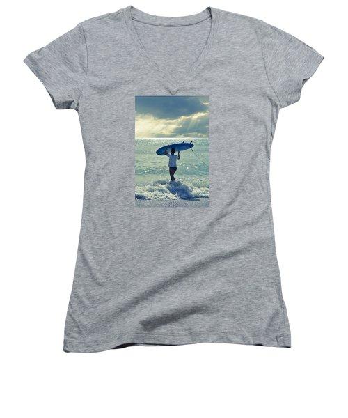 Surfer Girl Women's V-Neck T-Shirt (Junior Cut) by Laura Fasulo