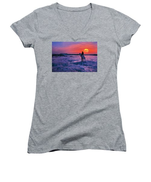 Surfer On Rock Looking Out From Blowing Rocks Preserve On Jupiter Island Women's V-Neck