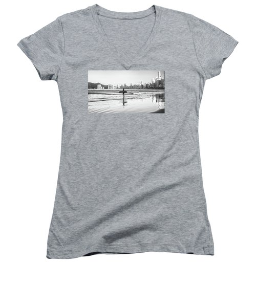 Surfer On The Beach Women's V-Neck (Athletic Fit)