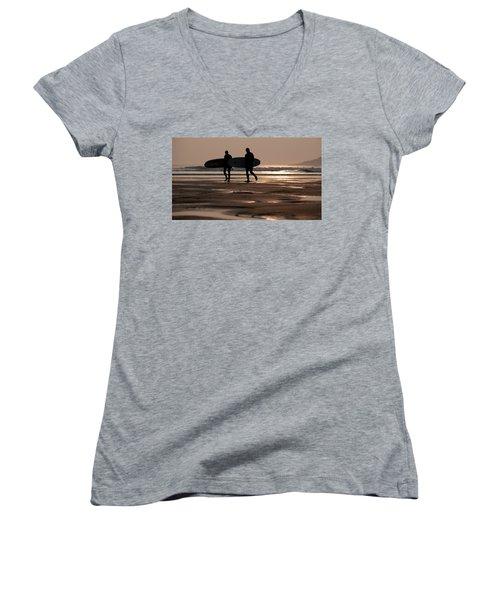 Surfers At Sunset Women's V-Neck T-Shirt