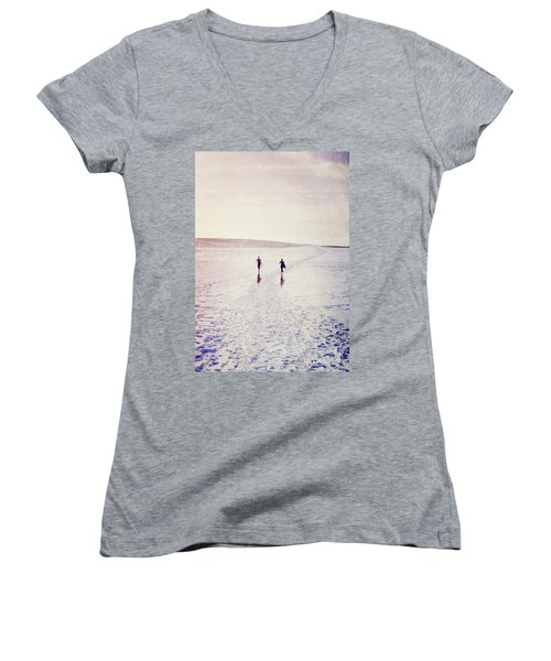 Women's V-Neck T-Shirt (Junior Cut) featuring the photograph Surfers In The Snow by Lyn Randle