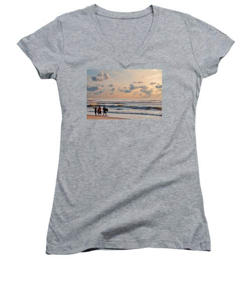 Surfing At Sunrise On The Jersey Shore Women's V-Neck