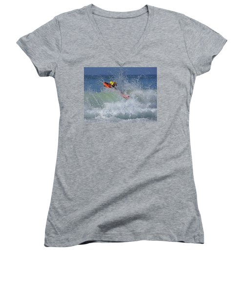 Women's V-Neck T-Shirt (Junior Cut) featuring the photograph Surfing Dog by Thanh Thuy Nguyen