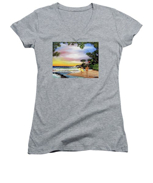 Surfing In Rincon Women's V-Neck T-Shirt (Junior Cut) by Luis F Rodriguez