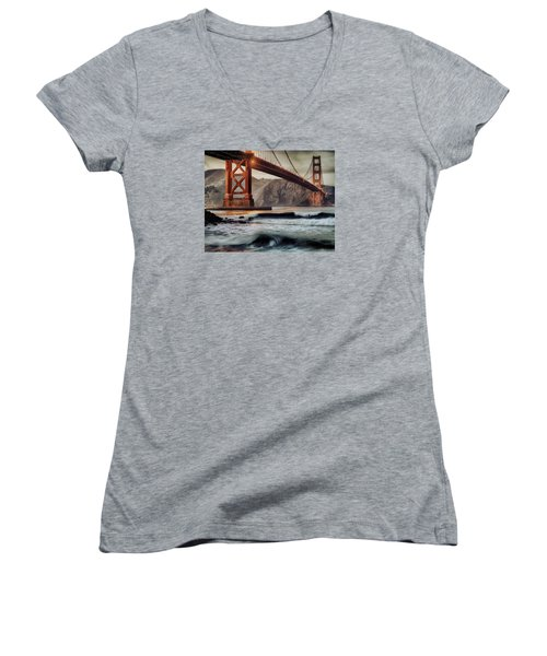 Women's V-Neck T-Shirt (Junior Cut) featuring the photograph Surfing The Shadows Of The Golden Gate Bridge by Steve Siri