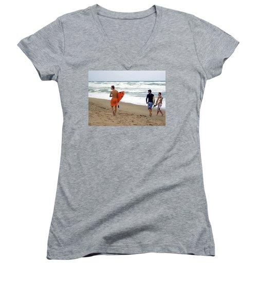 Surfs Up Boys Women's V-Neck (Athletic Fit)
