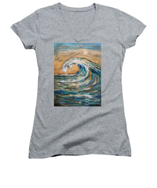 Women's V-Neck T-Shirt (Junior Cut) featuring the painting Surf's Up by Linda Olsen