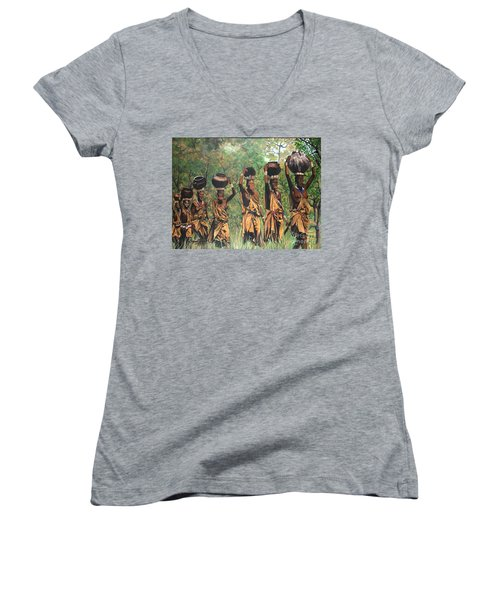Women's V-Neck T-Shirt (Junior Cut) featuring the painting Surma Women Of Africa by Sigrid Tune