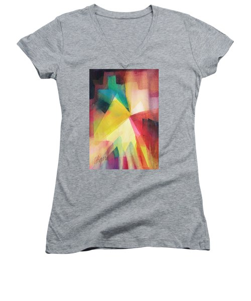 Women's V-Neck featuring the painting Surprise by Carolyn Utigard Thomas