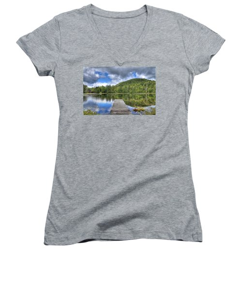 Women's V-Neck T-Shirt featuring the photograph Surprise Pond At Palmer Point by David Patterson