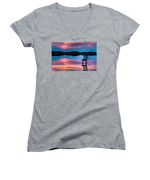 Women's V-Neck T-Shirt (Junior Cut) featuring the photograph Surreal Sunset by Gert Lavsen