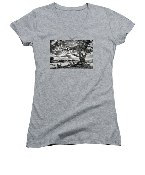 Surrealism At Its Best Women's V-Neck T-Shirt (Junior Cut) by Arik Baltinester