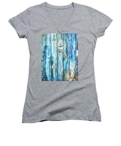 Surviving Time Women's V-Neck T-Shirt (Junior Cut) by Evelina Popilian