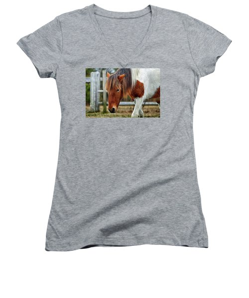 Susi Sole N2bhs-m Says Don't Fence Me In Women's V-Neck