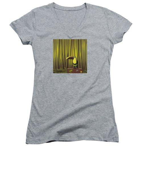 Suspenders Women's V-Neck T-Shirt (Junior Cut) by Jasper Oostland