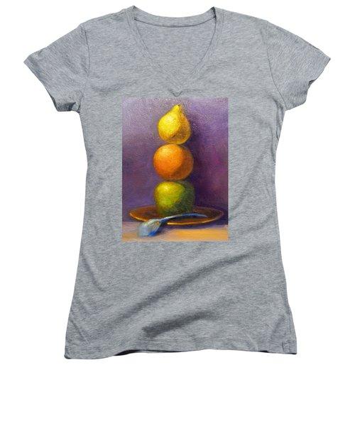 Suspenseful Balance Women's V-Neck T-Shirt