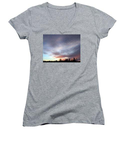 Suspenseful Skies Women's V-Neck T-Shirt (Junior Cut) by Audrey Robillard