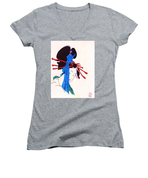Sutekina Geisha Ni Women's V-Neck T-Shirt (Junior Cut) by Roberto Prusso