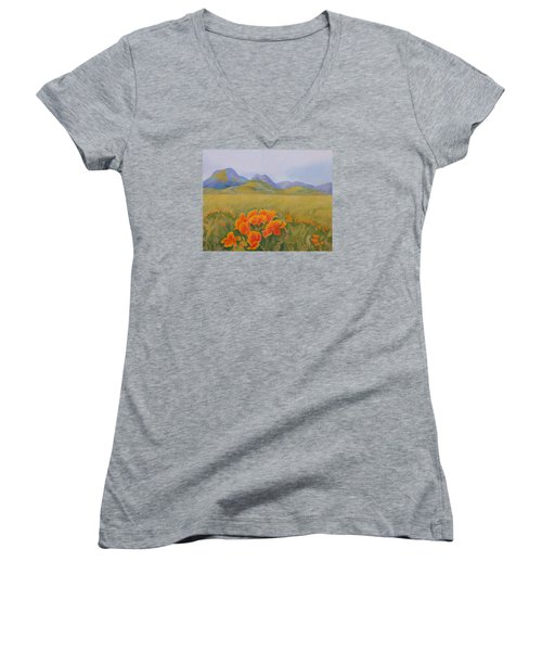 Sutter Buttes With California Poppies Women's V-Neck T-Shirt