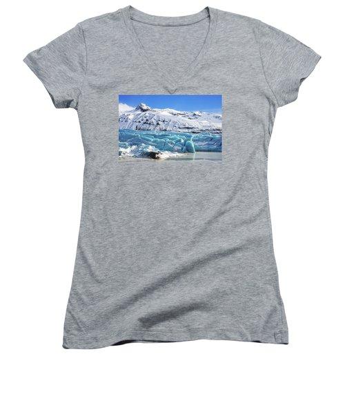 Svinafellsjokull Glacier Iceland Women's V-Neck T-Shirt (Junior Cut) by Matthias Hauser