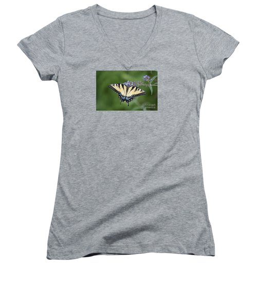 Women's V-Neck T-Shirt (Junior Cut) featuring the photograph Swallowtail 20120723_24a by Tina Hopkins