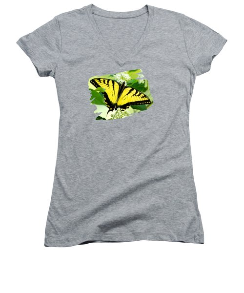 Swallowtail Butterfly Feeding On Flowers Women's V-Neck T-Shirt (Junior Cut) by Christina Rollo