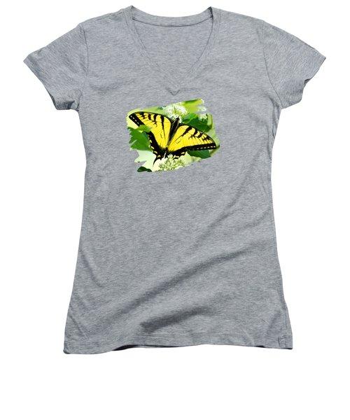 Swallowtail Butterfly Feeding On Flowers Women's V-Neck T-Shirt