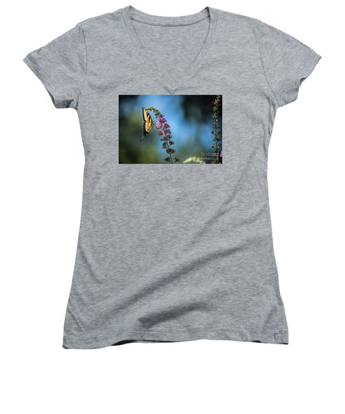 Women's V-Neck T-Shirt (Junior Cut) featuring the photograph Swallowtail Lookout by Judy Wolinsky