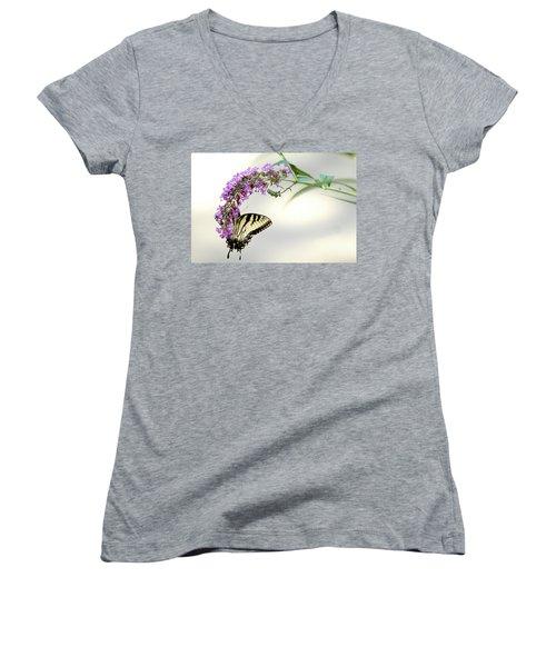 Swallowtail On Purple Flower Women's V-Neck T-Shirt (Junior Cut) by Emanuel Tanjala