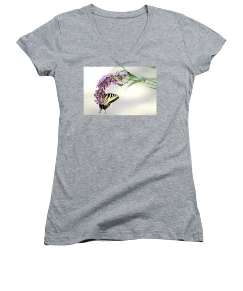 Swallowtail On Purple Flower Women's V-Neck