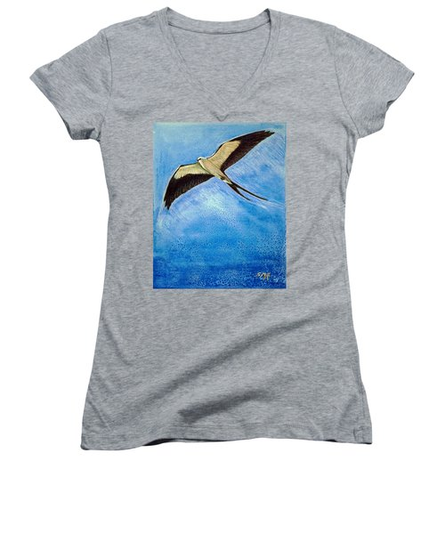 Women's V-Neck T-Shirt (Junior Cut) featuring the mixed media Swallowtail Sighting by Suzanne McKee