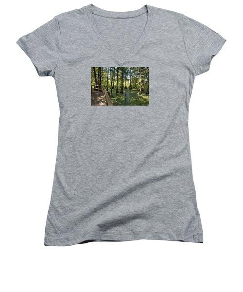 Swamps Women's V-Neck T-Shirt (Junior Cut) by Helen Haw