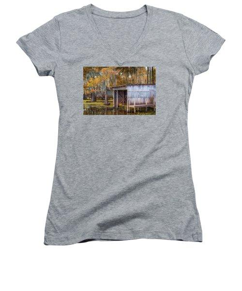Swampy Dock  Women's V-Neck T-Shirt