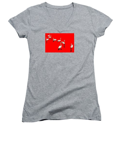 Women's V-Neck T-Shirt (Junior Cut) featuring the photograph Swan Family On Red by Constantine Gregory