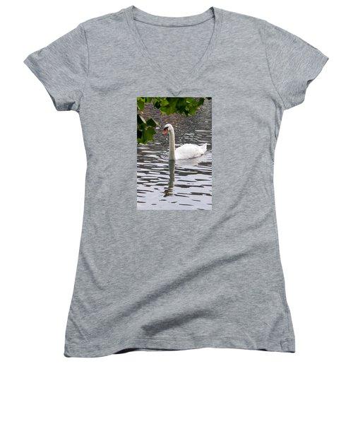 Swan Framed By Maple Leaves Women's V-Neck T-Shirt