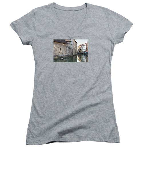 Women's V-Neck T-Shirt (Junior Cut) featuring the photograph Swan In Annecy France Canal by Katie Wing Vigil