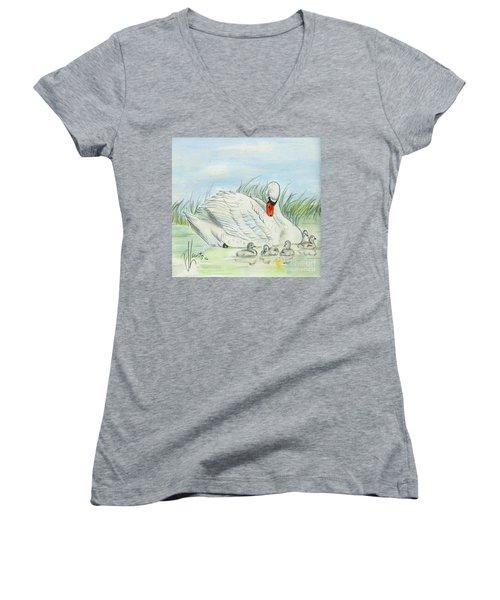 Swan Song Women's V-Neck T-Shirt (Junior Cut) by P J Lewis