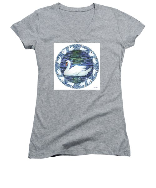 Swan With Knotted Border Women's V-Neck T-Shirt (Junior Cut) by Lise Winne