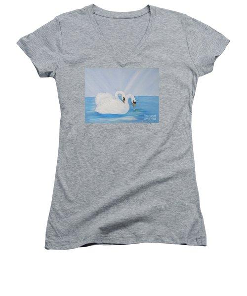 Swans On Open Water Women's V-Neck