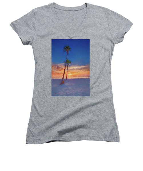 Women's V-Neck T-Shirt (Junior Cut) featuring the photograph Swaying Palms by Marvin Spates