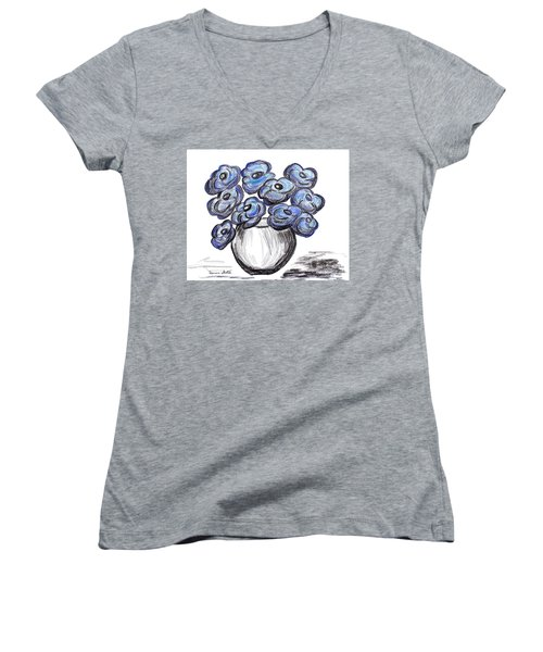 Sweet Blue Poppies Women's V-Neck T-Shirt (Junior Cut) by Ramona Matei
