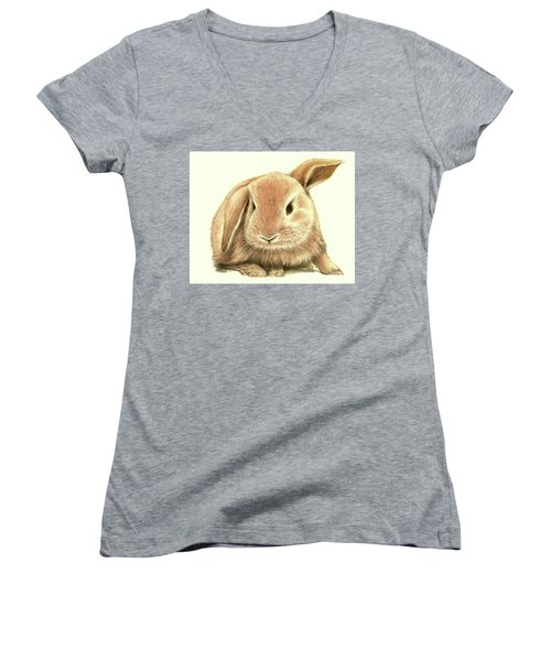 Women's V-Neck T-Shirt (Junior Cut) featuring the drawing Sweet Bunny by Heidi Kriel