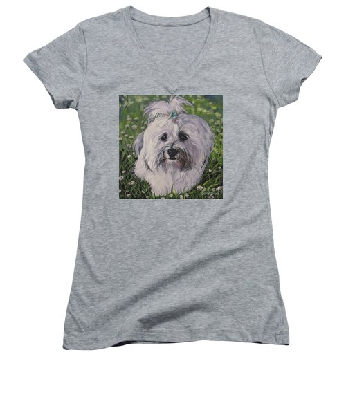 Women's V-Neck T-Shirt (Junior Cut) featuring the painting Sweet Havanese Dog by Lee Ann Shepard