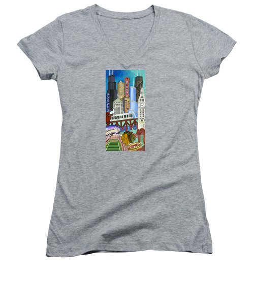 Women's V-Neck featuring the painting Sweet Home Chicago by Carla Bank