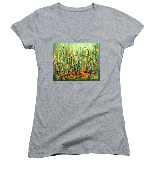 Women's V-Neck T-Shirt (Junior Cut) featuring the painting Sweet Jammin' Peas by Holly Carmichael