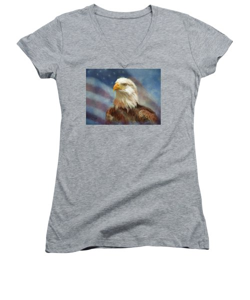Sweet Land Of Liberty Women's V-Neck T-Shirt (Junior Cut) by Colleen Taylor