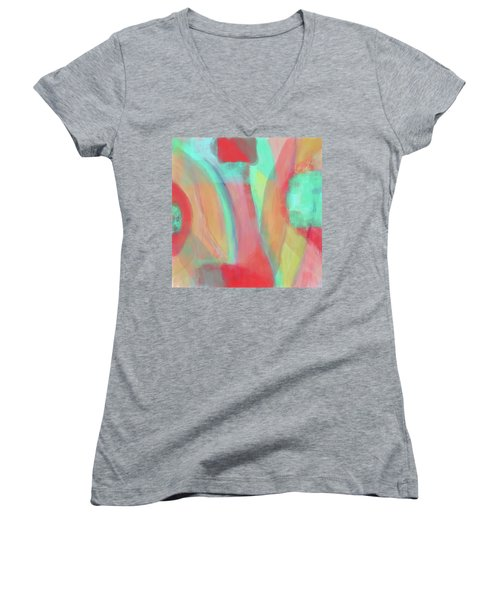 Women's V-Neck T-Shirt (Junior Cut) featuring the digital art Sweet Little Abstract by Susan Stone