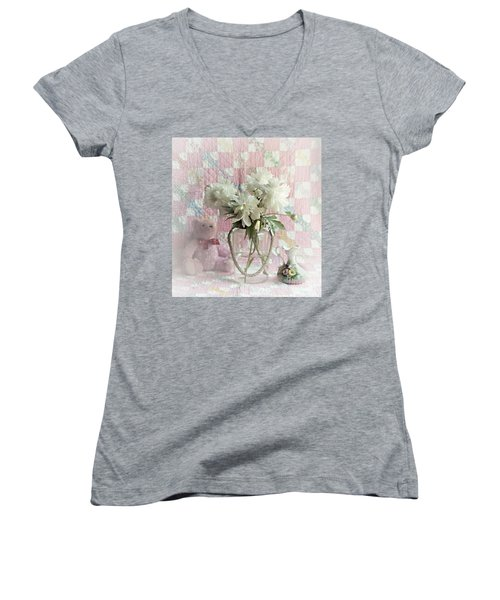 Sweet Memories Of Four Generations Women's V-Neck T-Shirt (Junior Cut) by Sherry Hallemeier