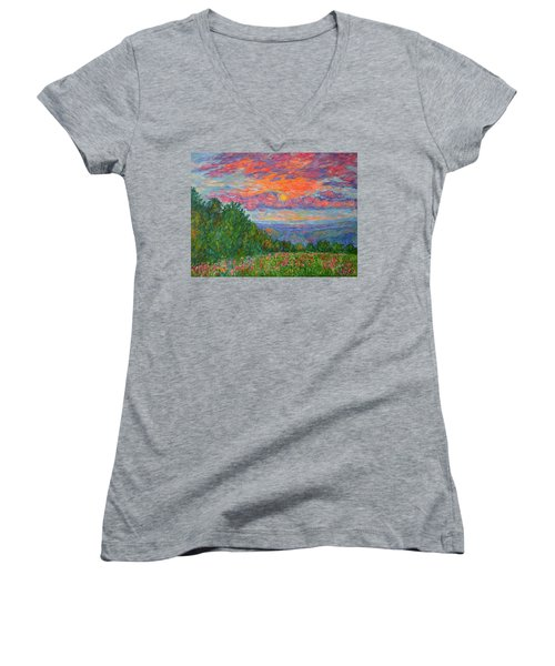 Sweet Pea Morning On The Blue Ridge Women's V-Neck